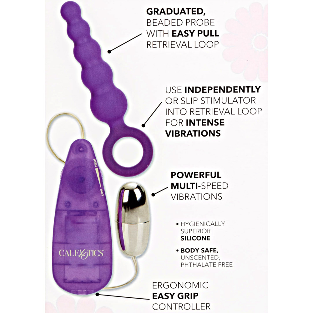 "California Exotics Booty Call Booty Shaker Vibrating Silicone Anal Probe 5"" Purple - View #1"
