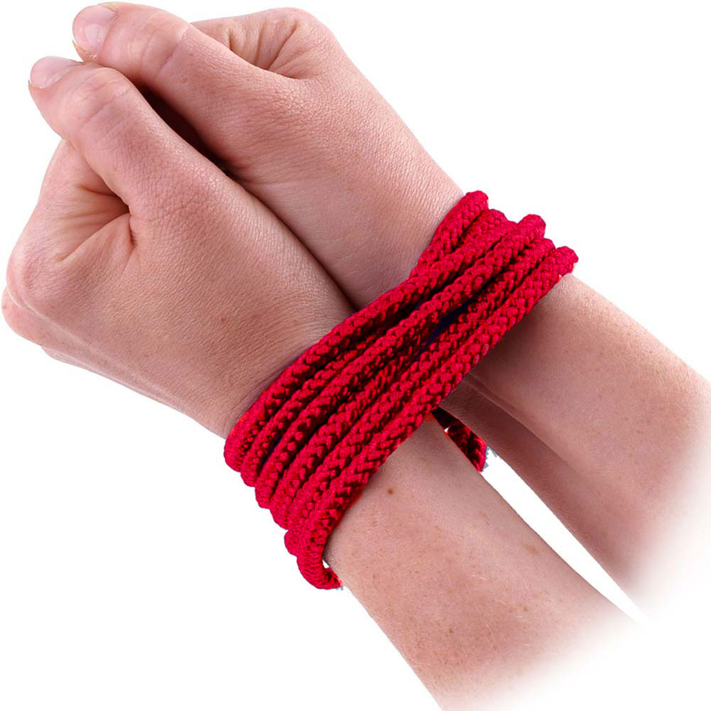 Lux Fetish Soft Bondage Rope 10 Feet 3 Meters Red - View #3