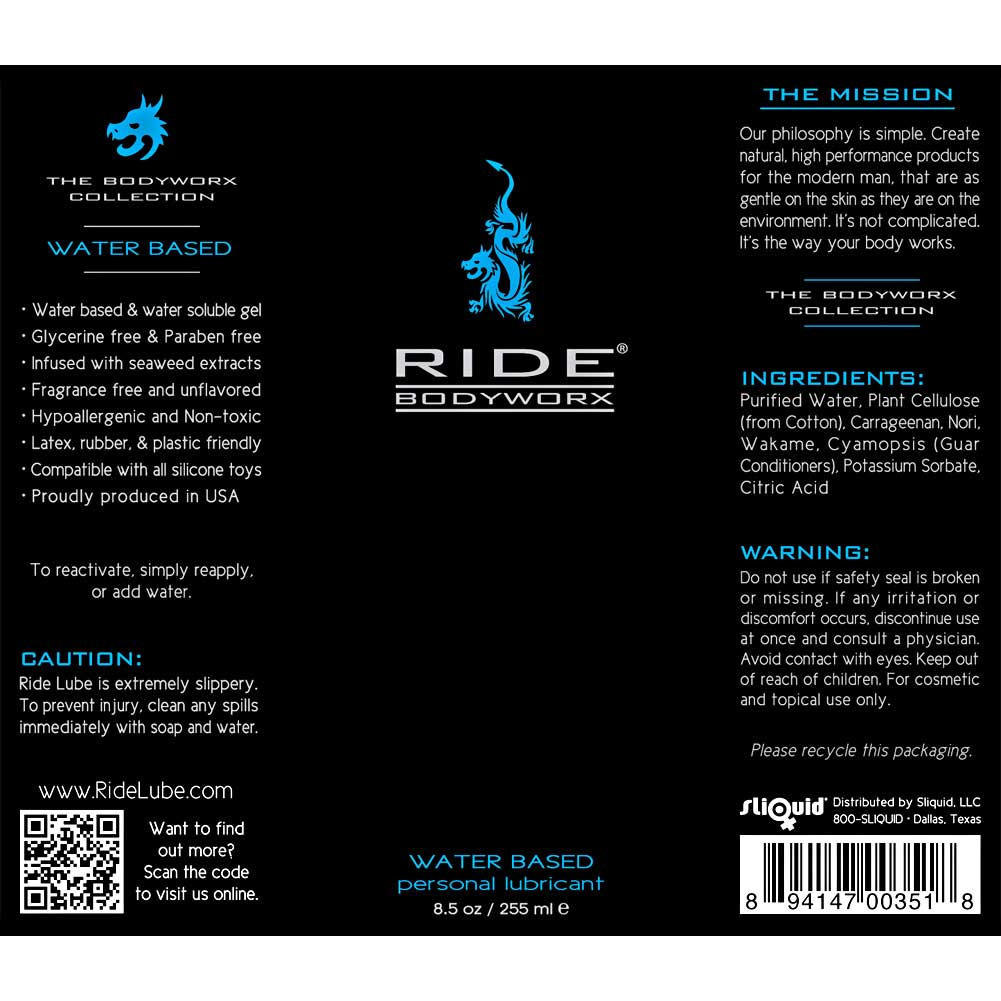 Ride BodyWorx Water Based Personal Lubricant 8.5 Fl.Oz 255 mL - View #1