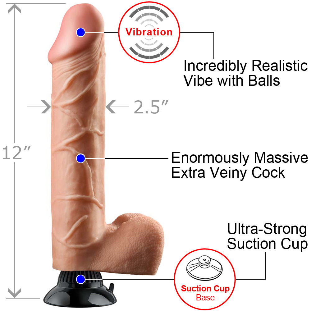 "Real Feel Deluxe 12 Thick Realistic Vibrator 12"" Natural Flesh - View #1"