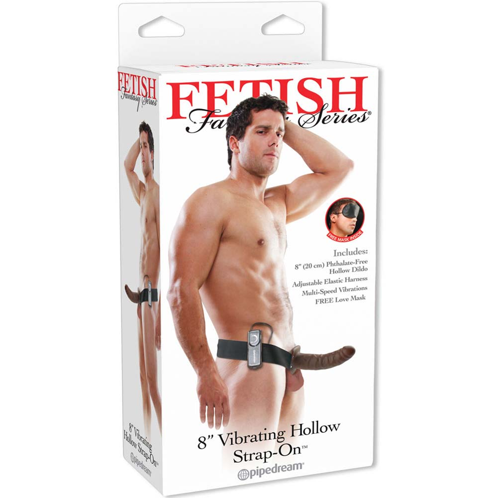 """Fetish Fantasy Series Vibrating Hollow Strap-On Dong 8"""" Brown - View #4"""