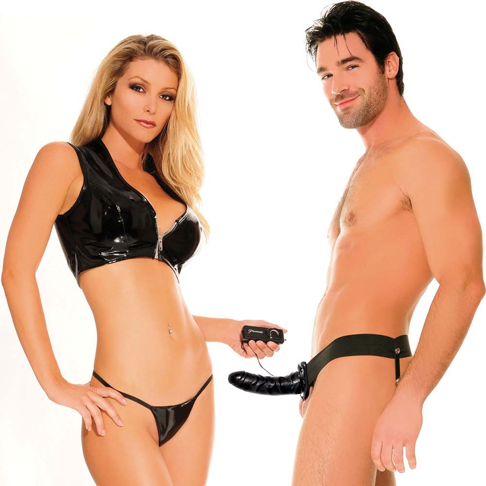 "Fetish Fantasy Vibrating Hollow Strap-On Dong for Him or Her 6"" Black - View #1"