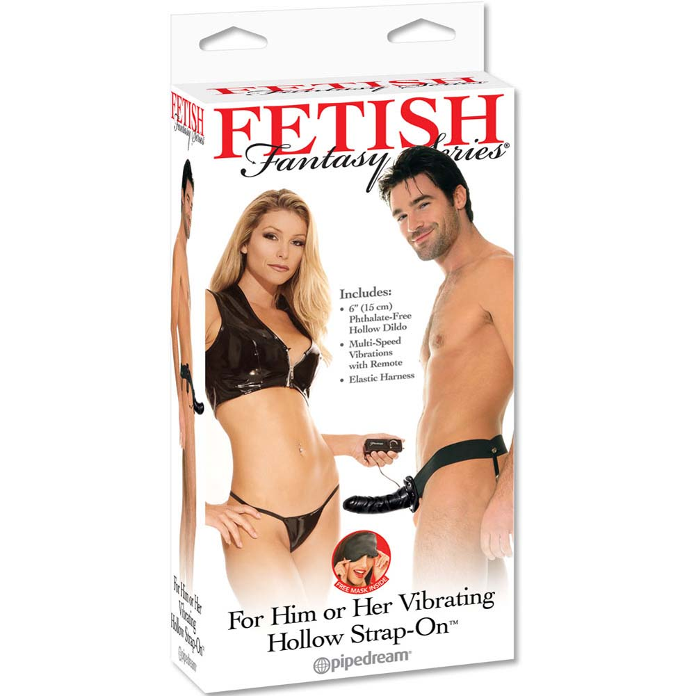 "Fetish Fantasy Vibrating Hollow Strap-On Dong for Him or Her 6"" Black - View #3"