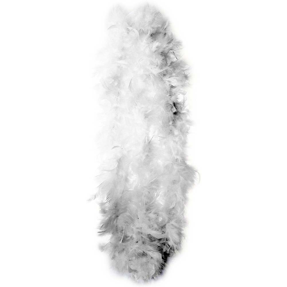 """Lightweight Feather Boa Party Accessory 72"""" White - View #2"""