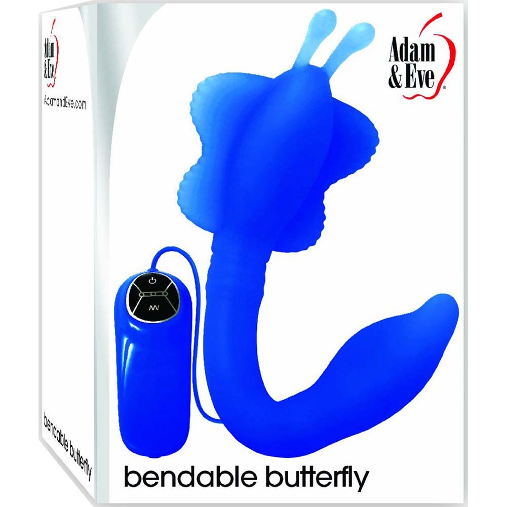 """Adam and Eve Bendable Butterfly Silicone G-Spot Vibrator 10.5"""" Blue - View #1"""