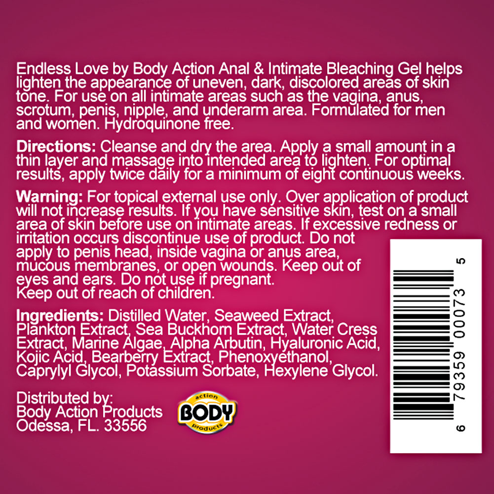 Endless Love for Women Anal and Intimate Area Bleaching Gel by Body Action 1 Fl.Oz 30 mL - View #1