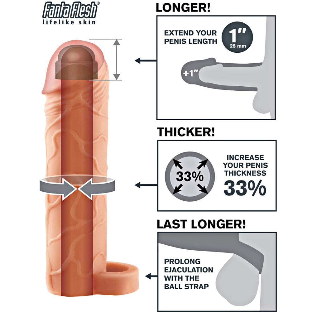 """Fantasy X-Tensions 1"""" Extra Length Penis Extension with Ball Strap 7"""" Flesh - View #1"""