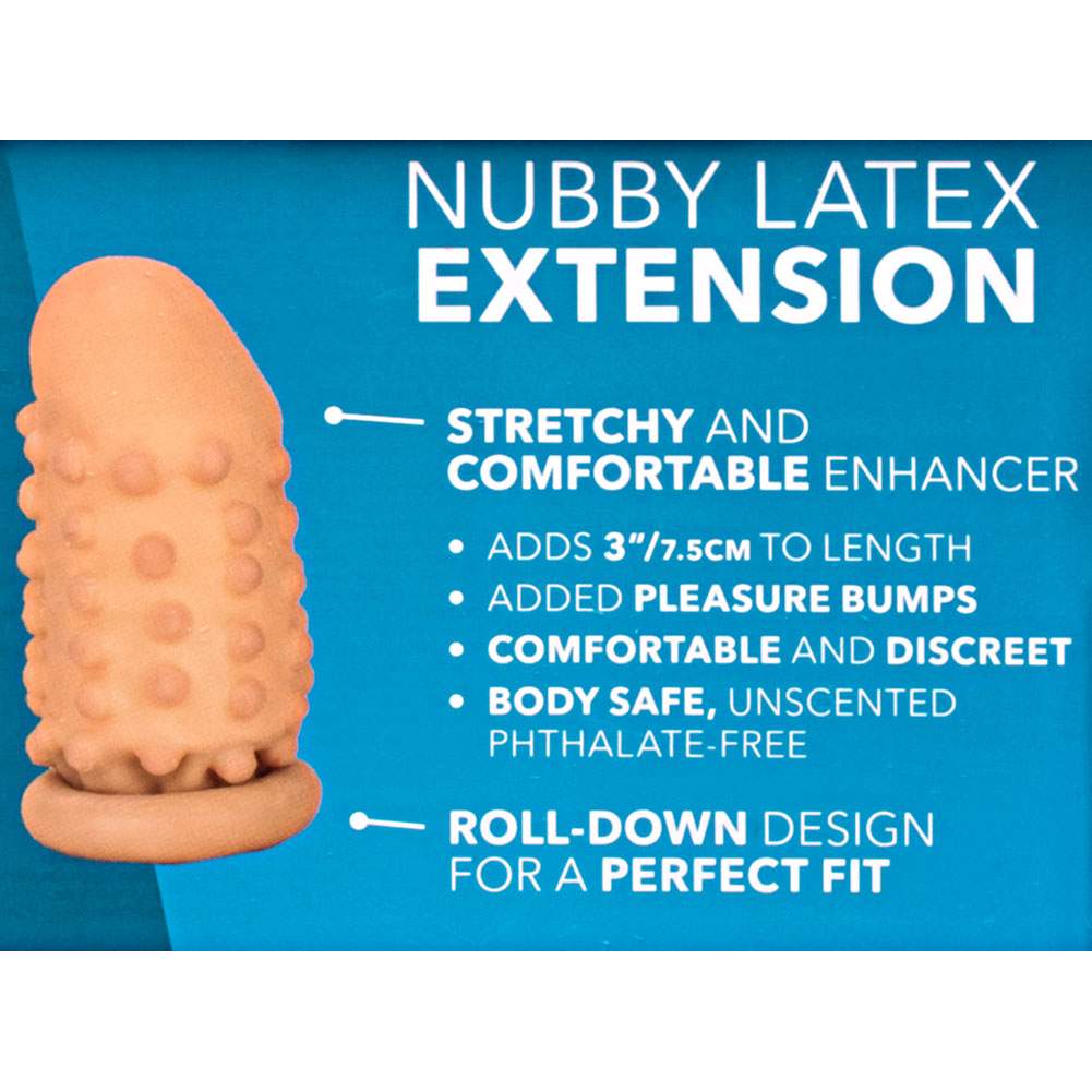 "3"" Extra Length Nubby Latex Penis Extension Condom Ivory - View #1"