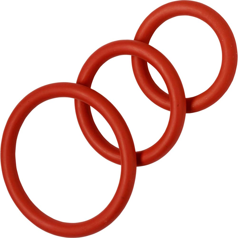 Spartacus 3 Pack Nitrile Cock Rings Red - View #2