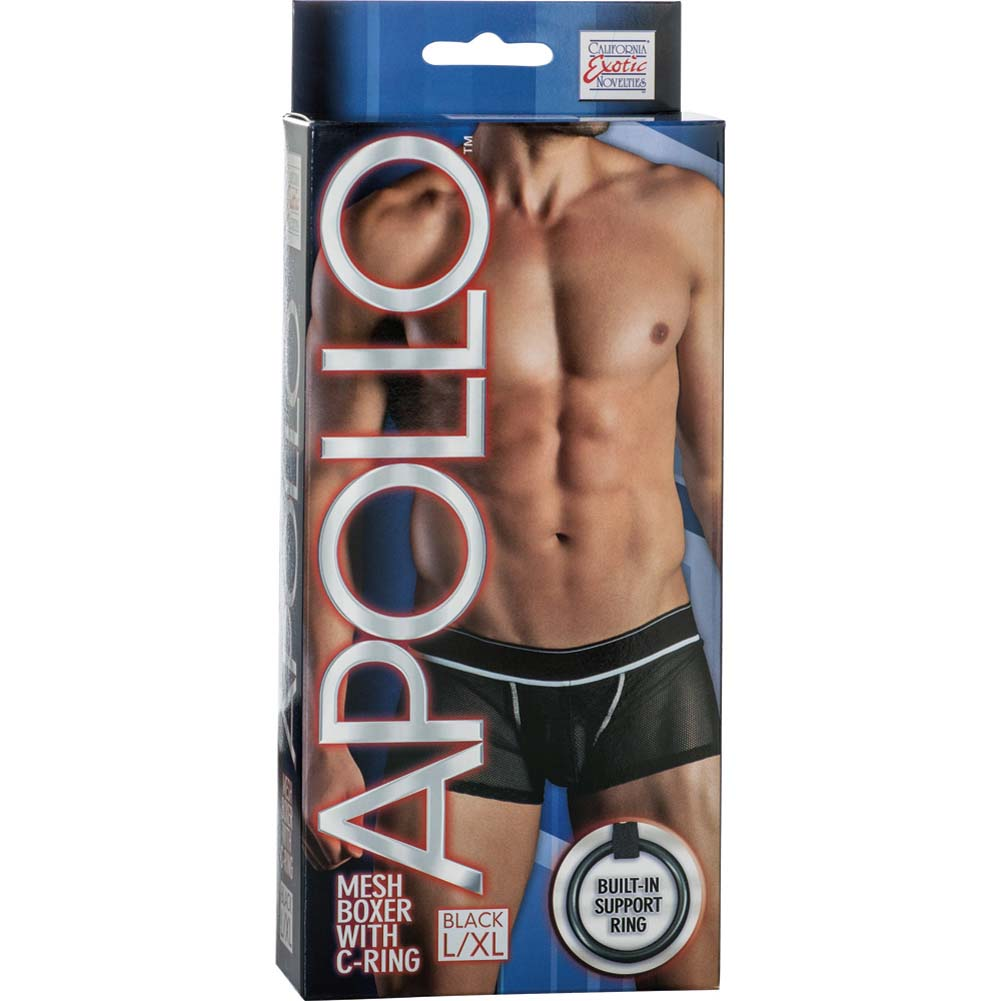 California Exotics Apollo Mesh Boxer with C-Ring Black Large/Extra Large Size - View #1