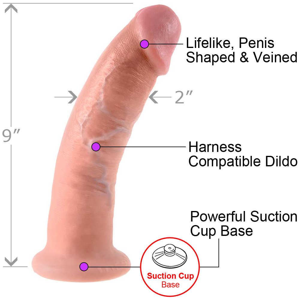 """King Cock Thick Realistic Dong with Suction Cup 9"""" Flesh - View #1"""