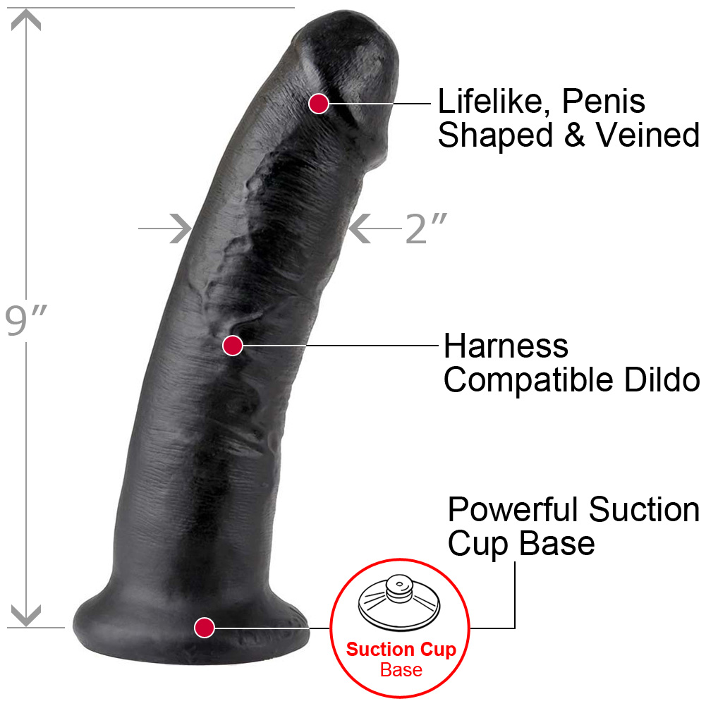 """King Cock Thick Realistic Dong with Suction Cup 9"""" Black - View #1"""