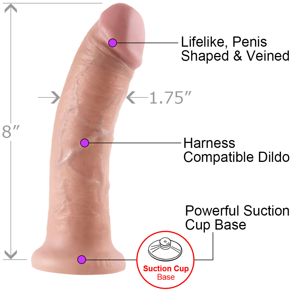"King Cock Thick Realistic Dong with Suction Cup 8"" Flesh - View #1"