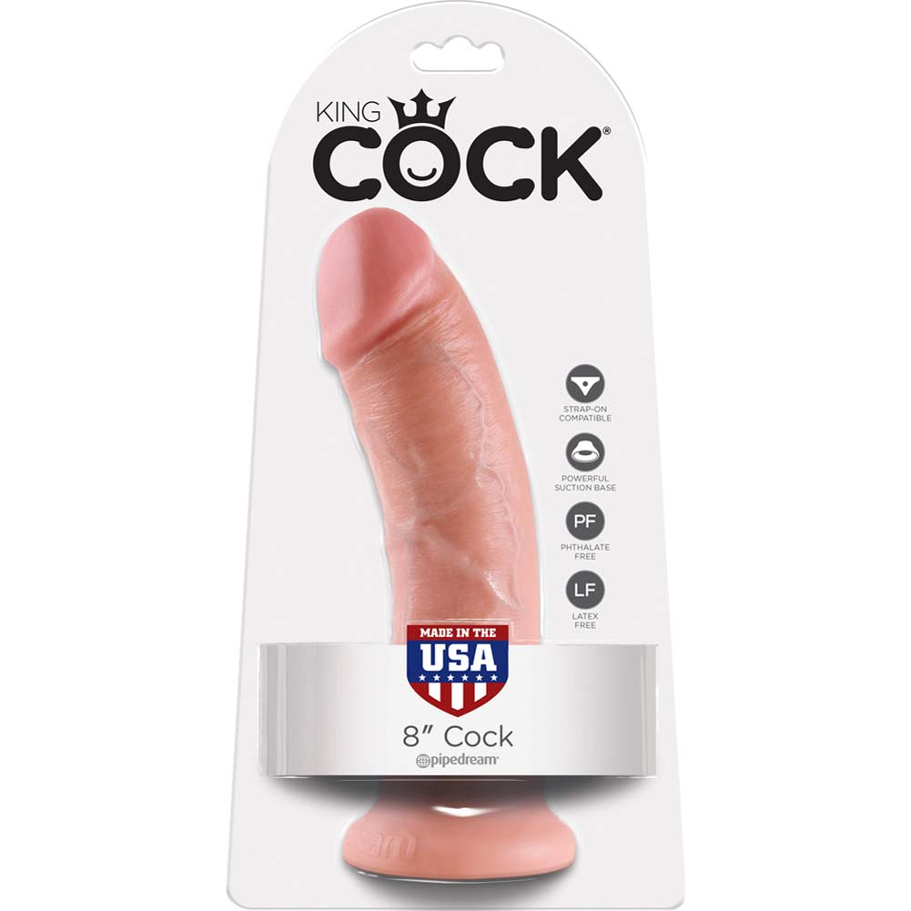 "King Cock Thick Realistic Dong with Suction Cup 8"" Flesh - View #4"