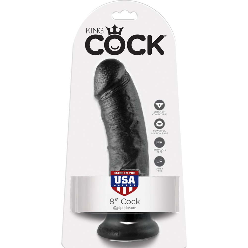"""King Cock Thick Realistic Dong with Suction Cup 8"""" Black - View #4"""