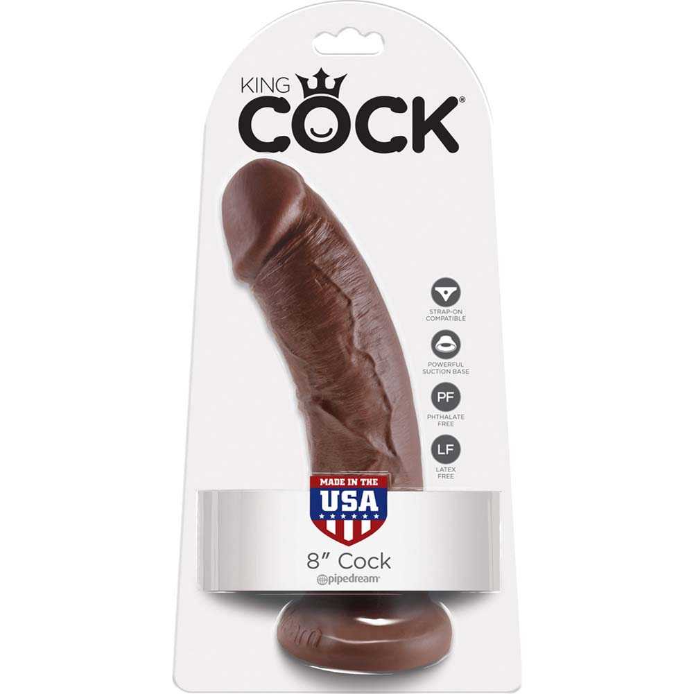 """King Cock Thick Realistic Dong with Suction Cup 8"""" Brown - View #4"""