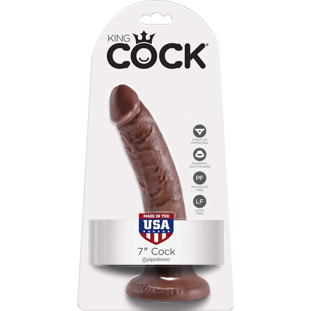 "King Cock Tapered Realistic Dong with Suction Cup 7"" Brown - View #1"