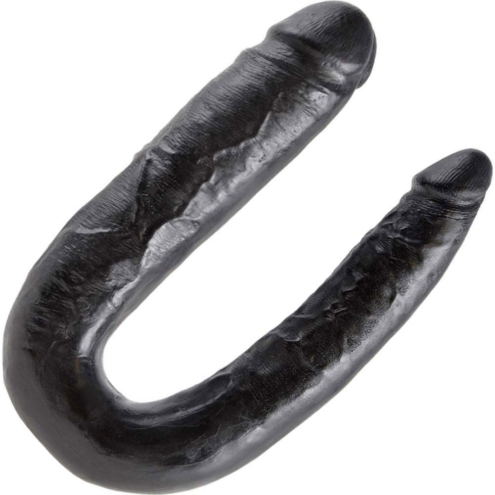 King Cock U-Shaped Large Double Trouble Dildo Black - View #2