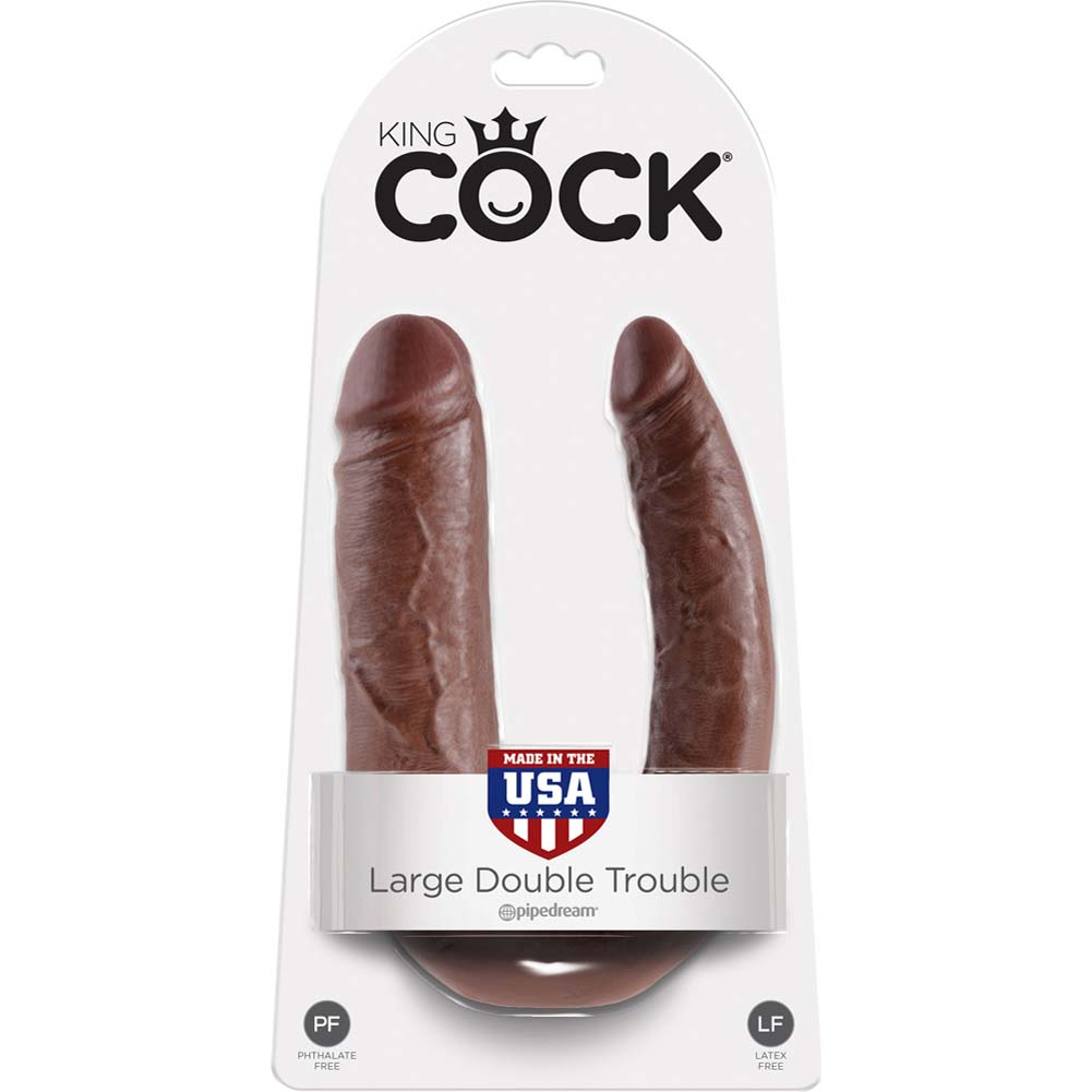 King Cock U-Shaped Large Double Trouble Dildo Brown - View #1