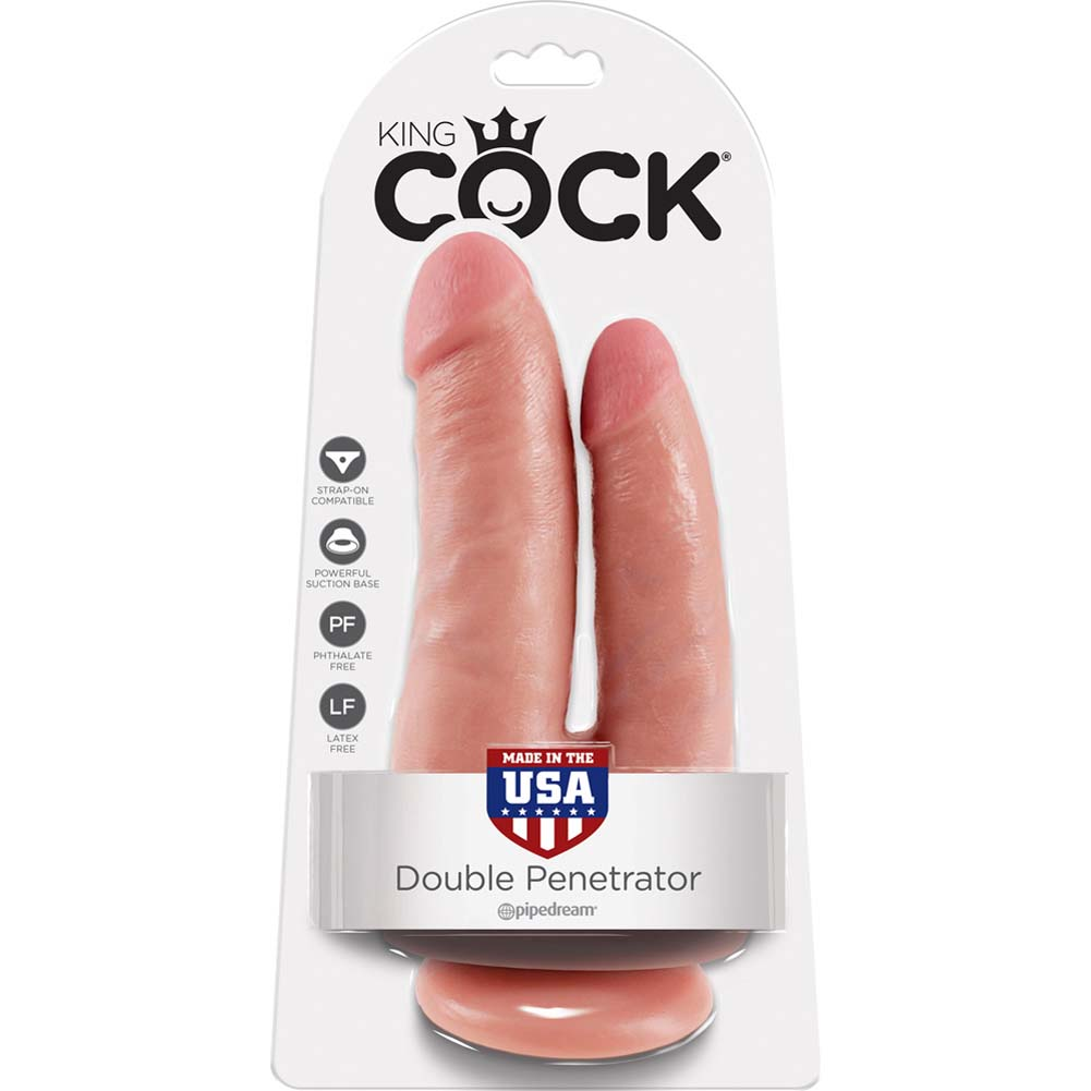 "King Cock Double Penetrator Dildo with Suction Mount Base 8"" Flesh - View #4"