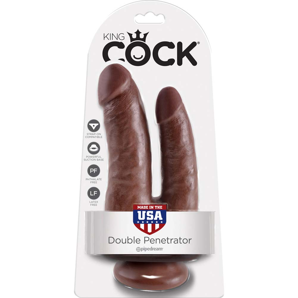 "King Cock Double Penetrator Dildo with Suction Mount Base 8"" Brown - View #4"