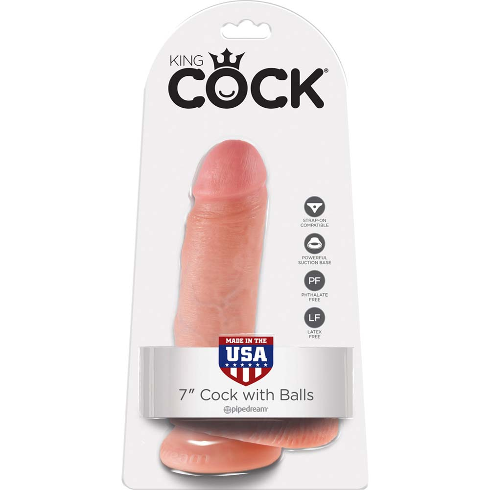 """King Cock Realistic Dildo with Balls and Suction Mount Base 7"""" Flesh - View #1"""