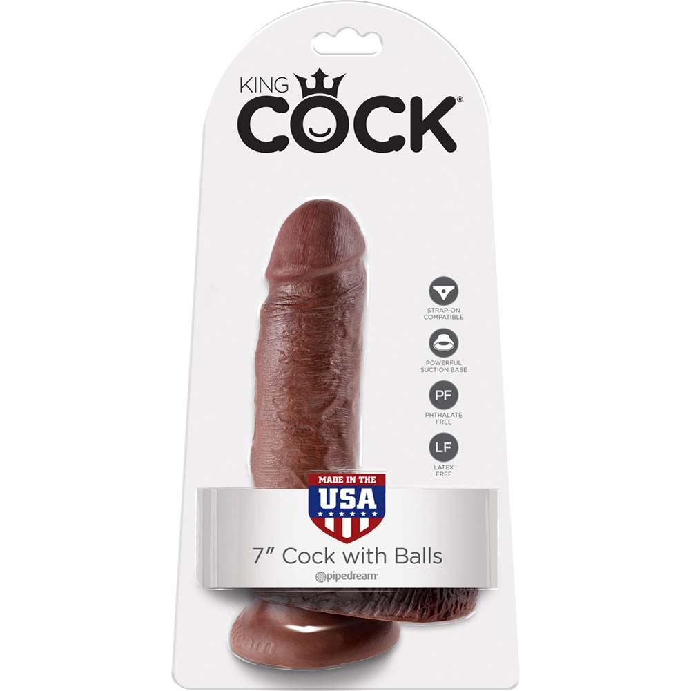 """King Cock Realistic Dildo with Balls and Suction Mount Base 7"""" Brown - View #1"""