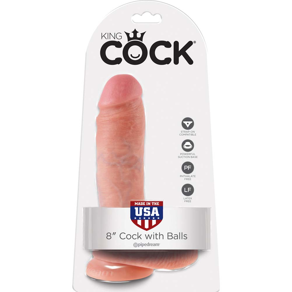 """King Cock Realistic Dildo with Balls and Suction Mount Base 8"""" Flesh - View #1"""
