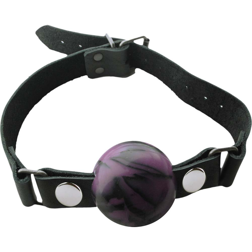 """Spartacus Nickel Free Silicone Removable Ball Gag Large 2"""" Purple Swirl - View #2"""