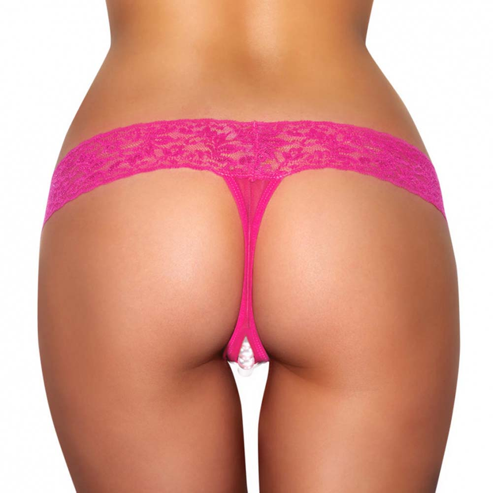 Hustler Crotchless Stimulating Thong with Pearl Pleasure Beads Small/Medium Pink - View #2