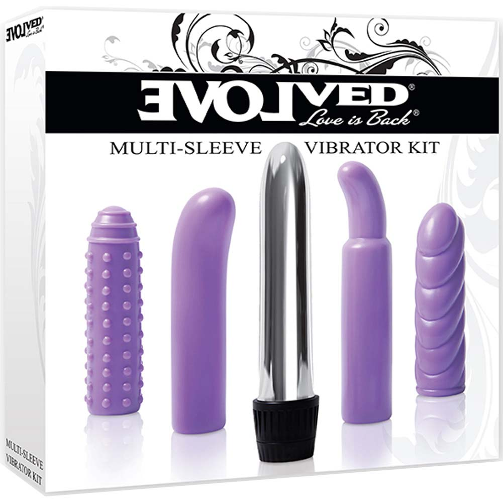 """Multi Sleeve Vibrator Kit with Silver Vibe and Textures Sleeves 5.5"""" Purple - View #1"""