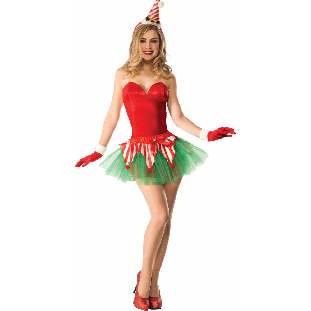 Forum Christmas Candy Cane Elf Tutu Costume One Size Red/Green - View #1