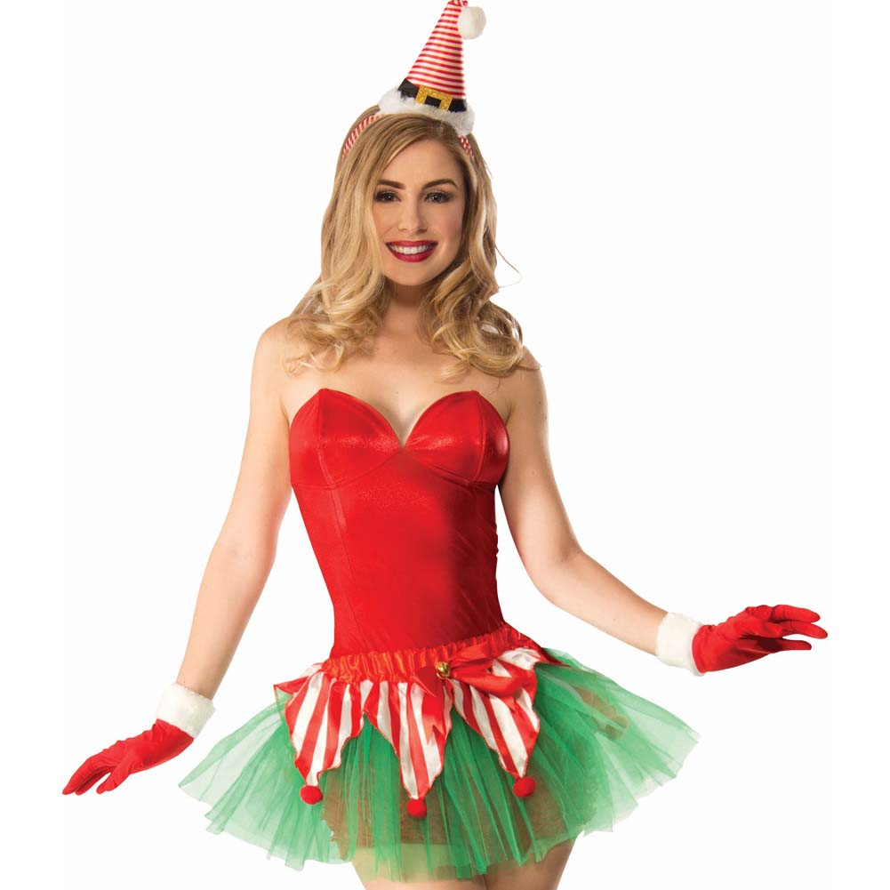 Forum Christmas Candy Cane Elf Tutu Costume One Size Red/Green - View #2