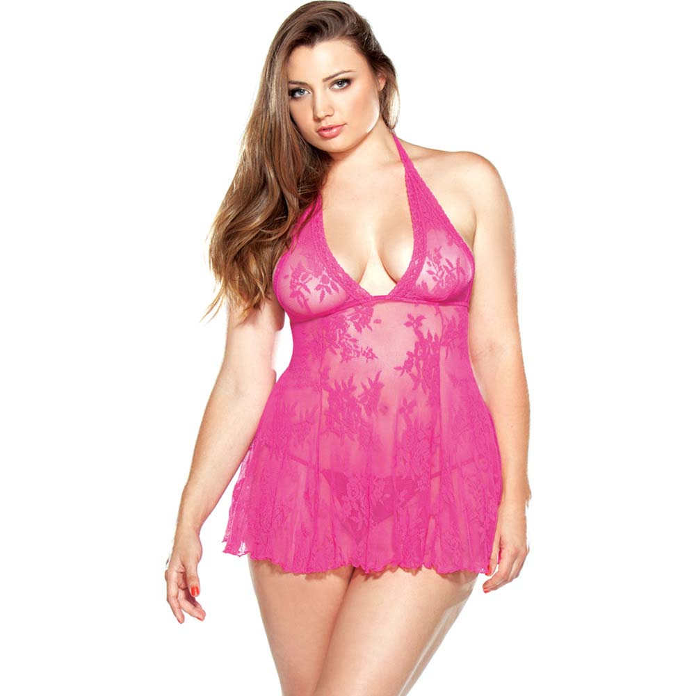 Fantasy Lingerie Stretch Lace Chemise and Matching G-String Plus Size 3X/4X Pink - View #1