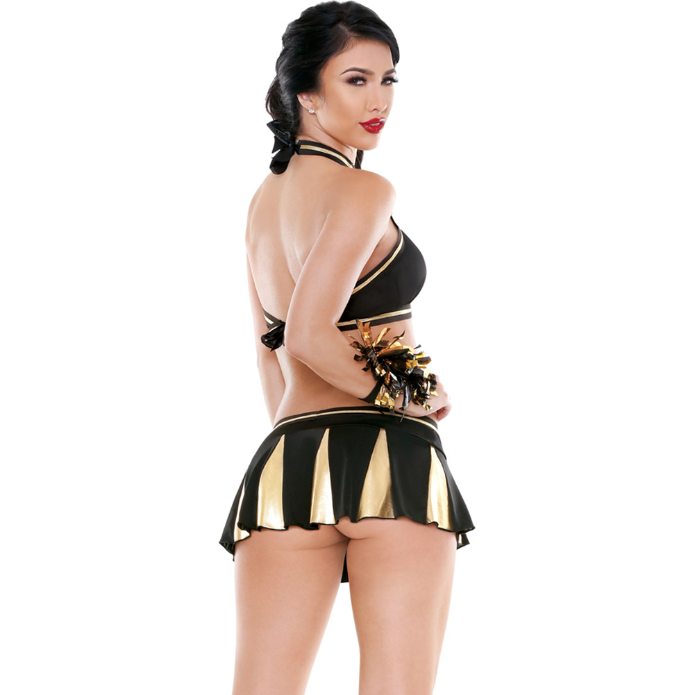 Play Crowd Pleaser Cheerleader Costume Set by Fantasy Lingerie Large/XL Black/Gold - View #2
