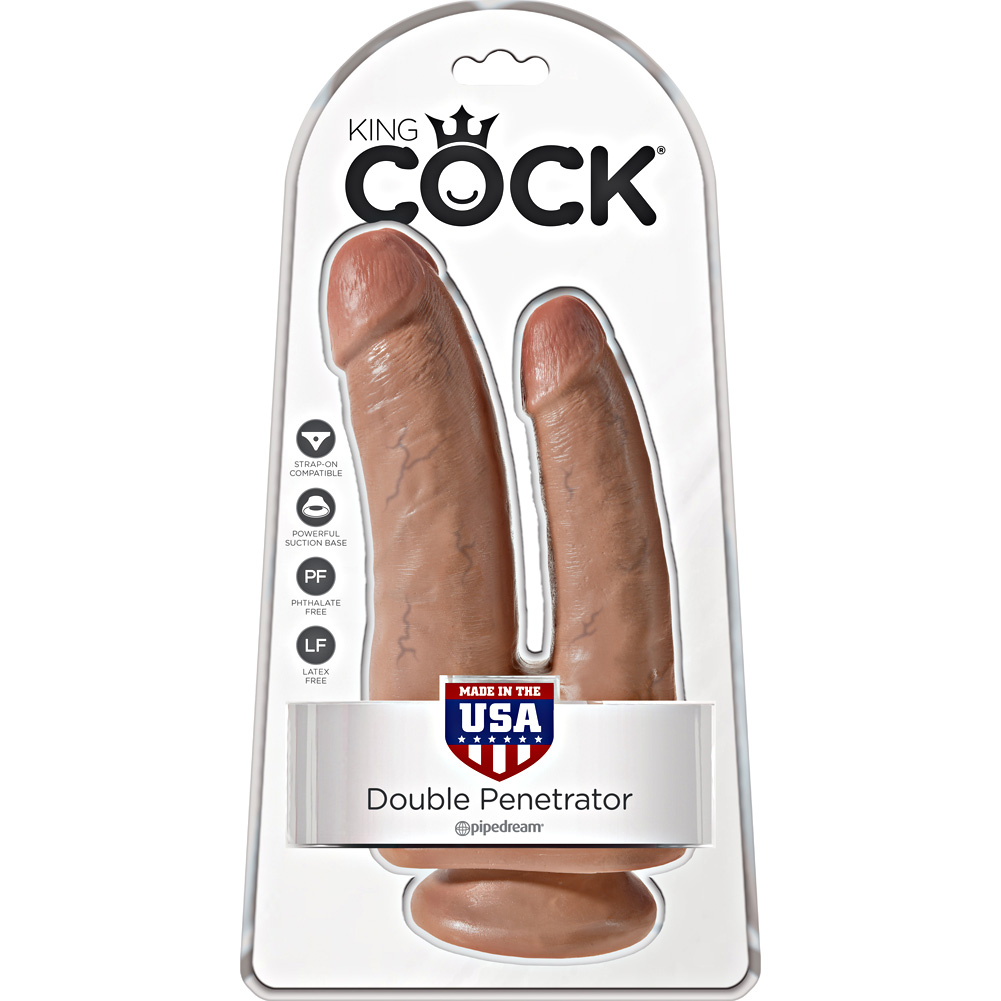 "King Cock Double Penetrator Dildo with Suction Mount Base 8"" Tan - View #1"