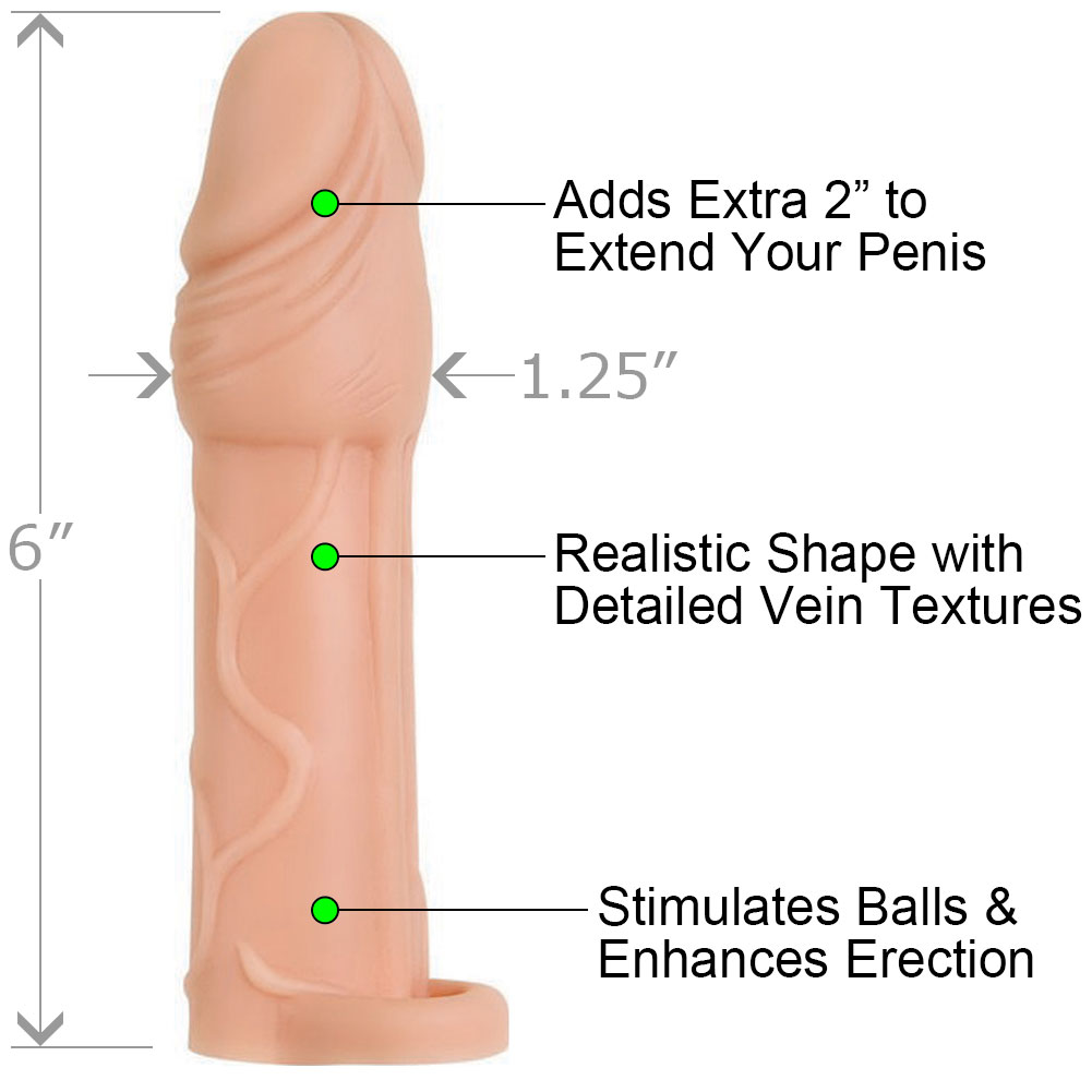 """2"""" Extra Length True Feel Penis Extension with Ball Strap 6"""" Flesh - View #1"""