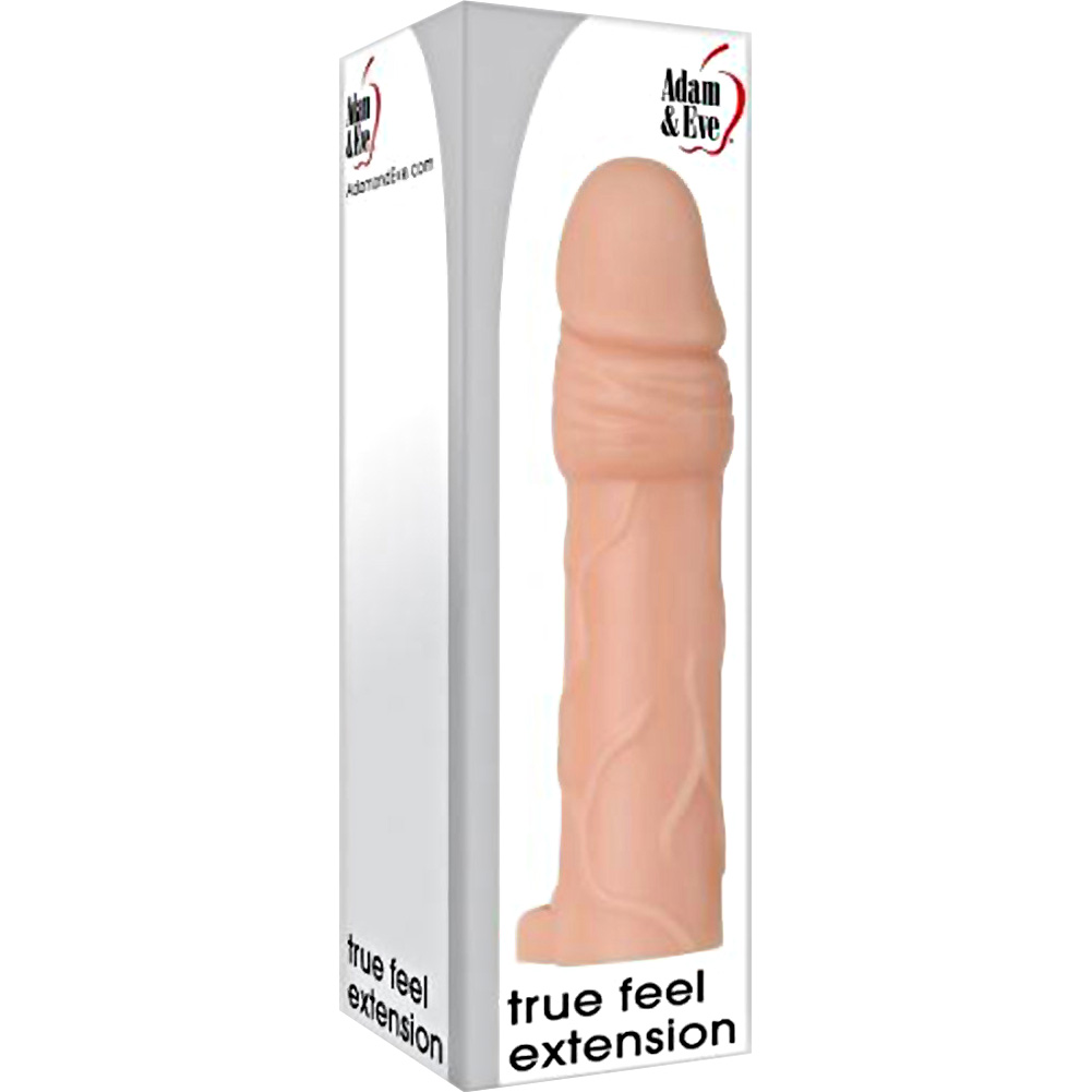 "2"" Extra Length True Feel Penis Extension with Ball Strap 6"" Flesh - View #4"