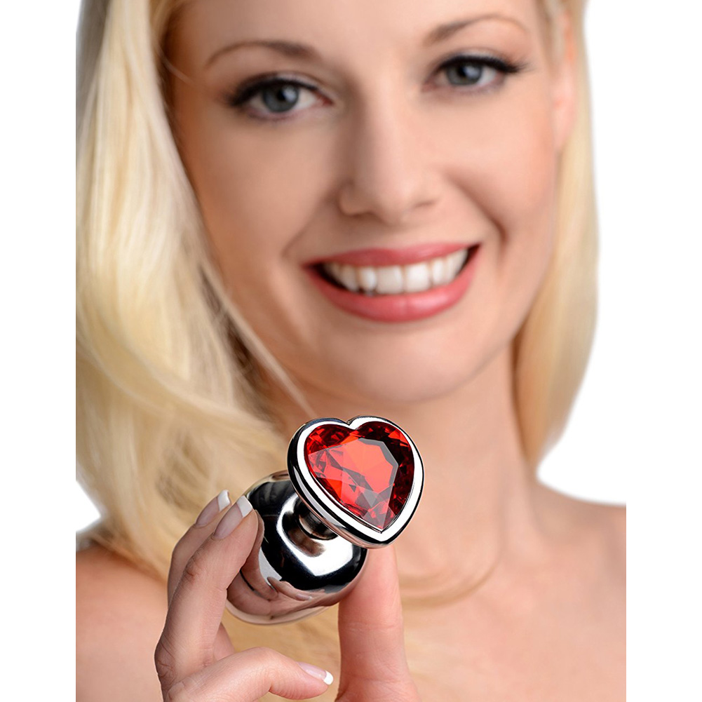 Frisky Hearts 3 Piece Metal Anal Plugs with Red Gem Accents Chrome - View #3