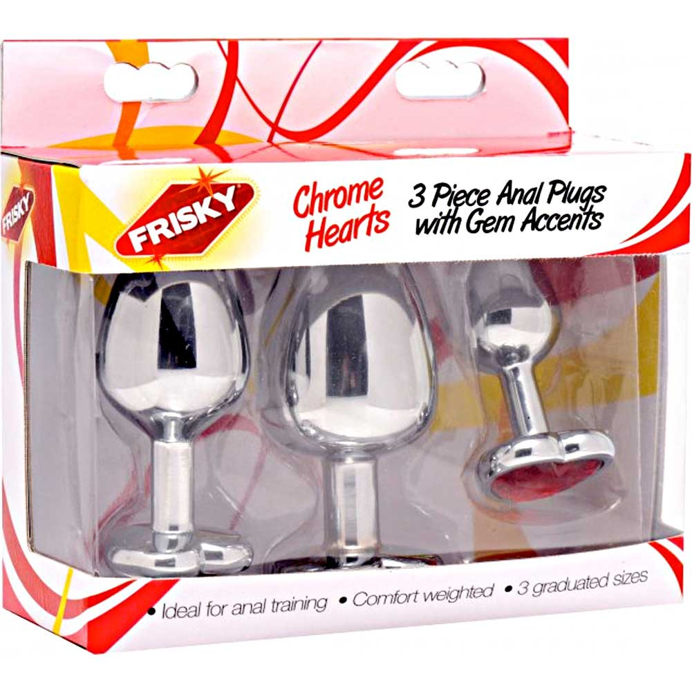 Frisky Hearts 3 Piece Metal Anal Plugs with Red Gem Accents Chrome - View #4