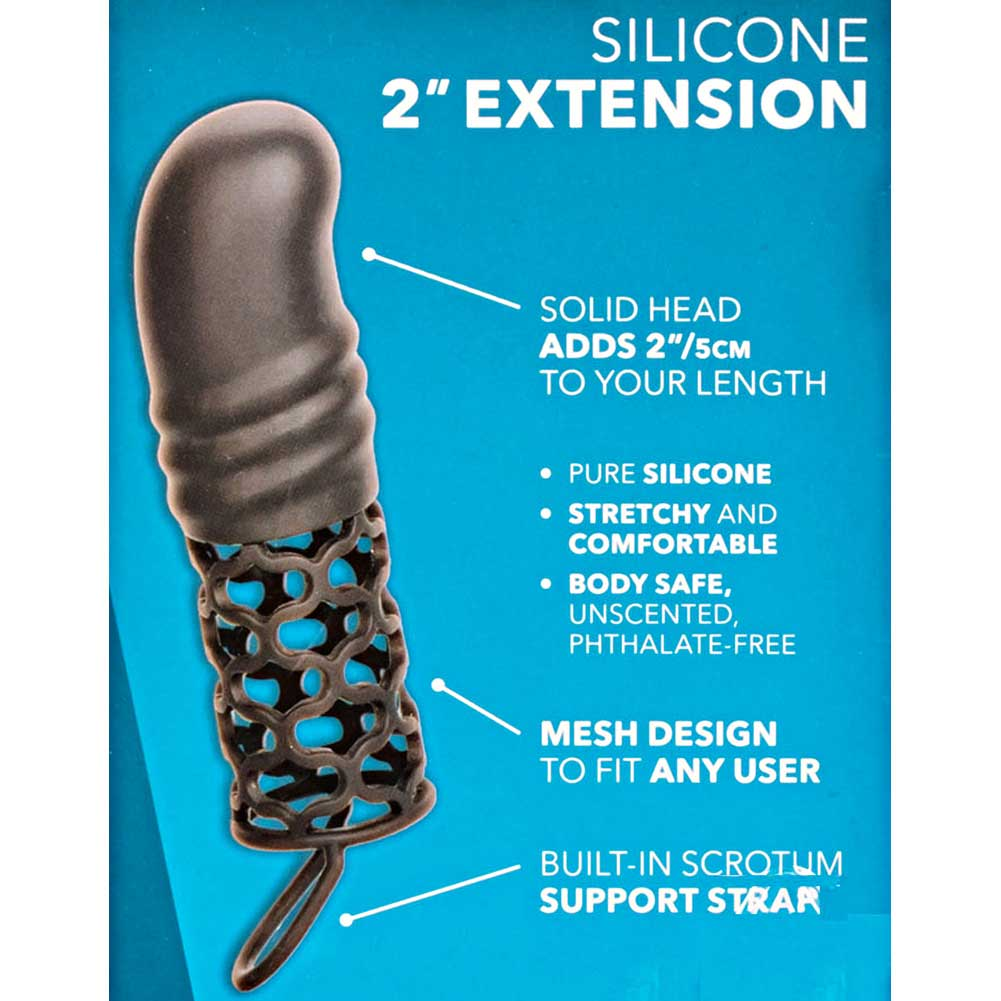 """2"""" Extra Length Penis Extension with Support Ring 5.75"""" Black - View #1"""