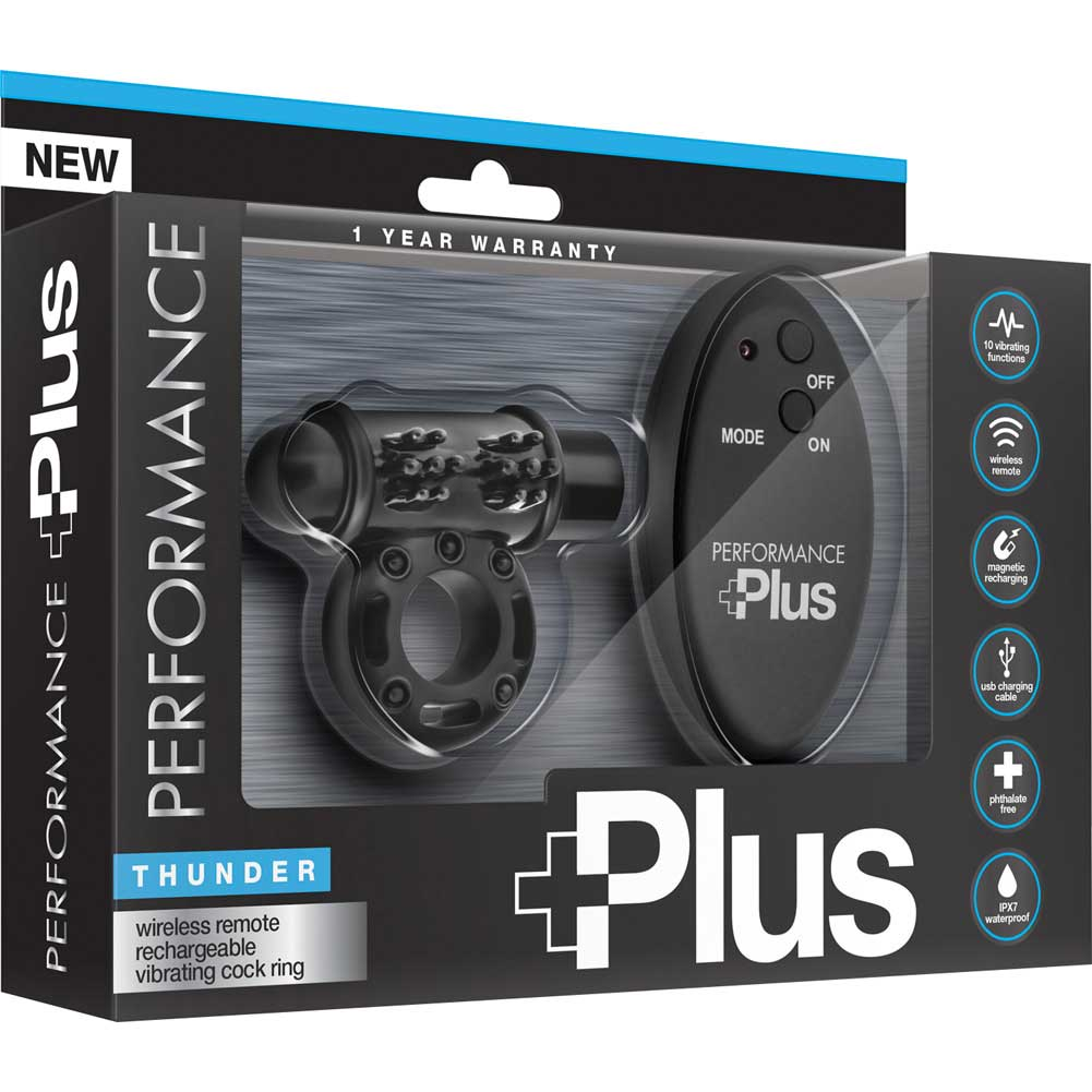 Performance Plus Thunder Rechargeable Vibrating Cock Ring Black - View #4