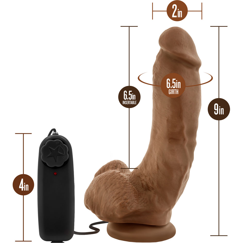 """Loverboy Realistic Vibrating Dildo with Suction Cup 9"""" Mocha - View #1"""