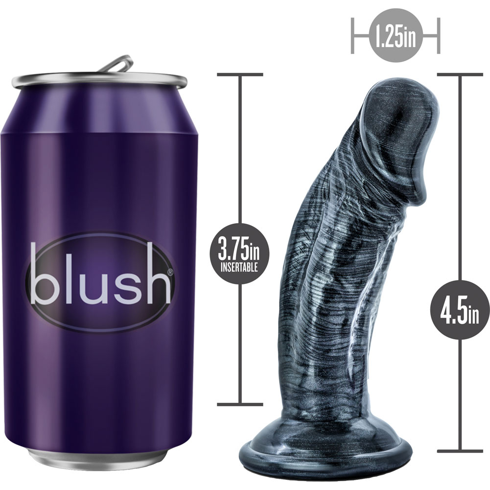 """Jet Blackberry Anal Dildo with Suction Cup 4"""" Carbon Metallic Black - View #1"""