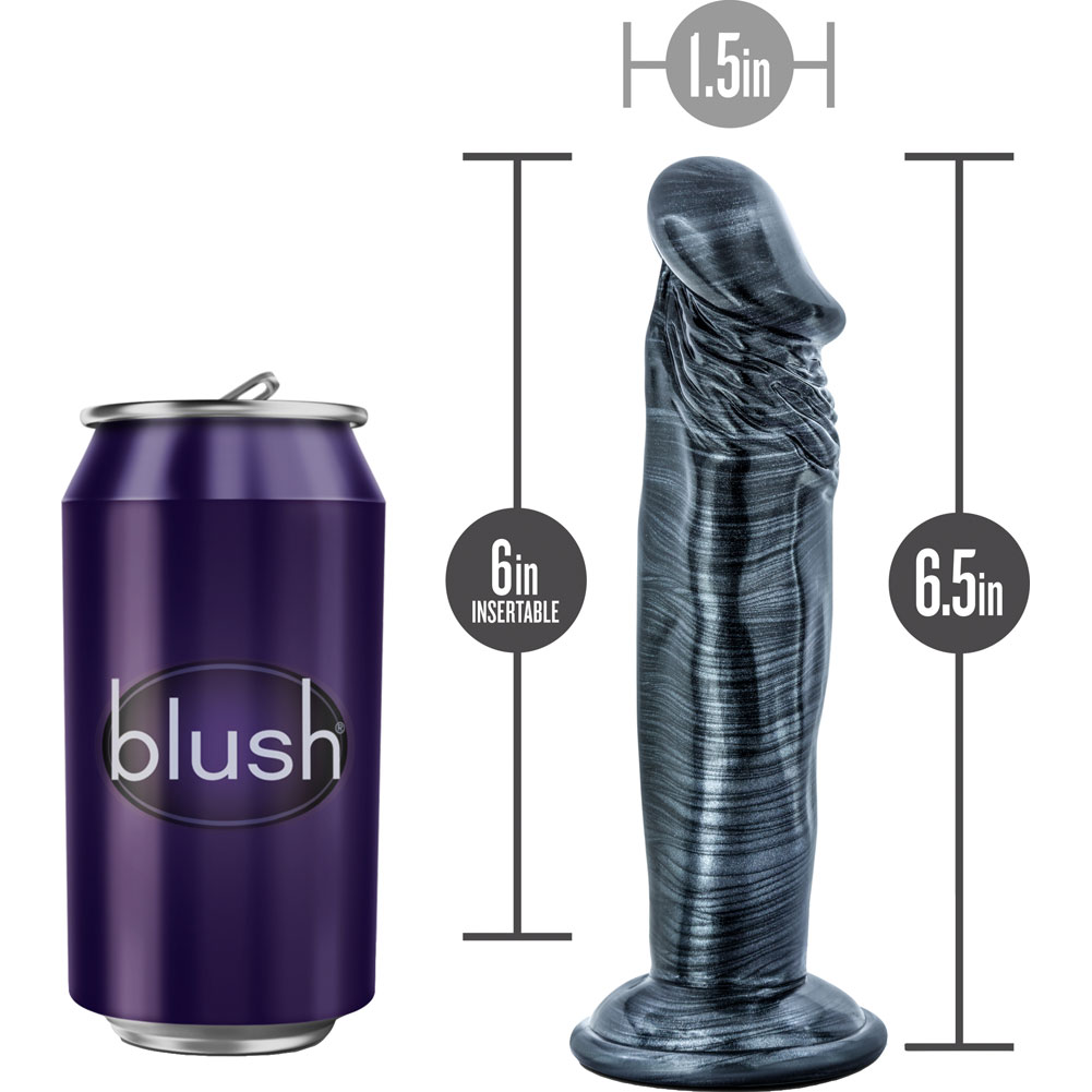 """Jet Ebony Dildo with Suction Cup 6"""" Carbon Metallic Black - View #1"""