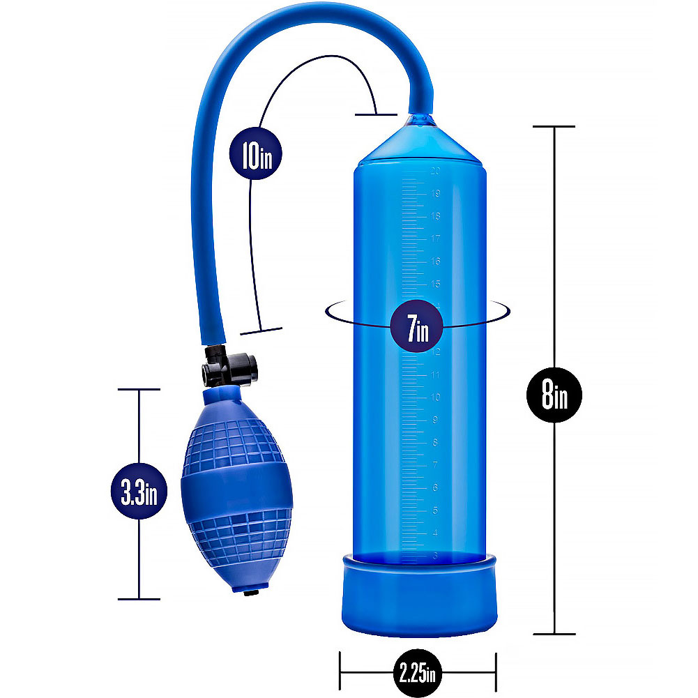 """Go Big Quickie Kit with Penis Pump 8"""" by 2.25"""" Blue - View #3"""