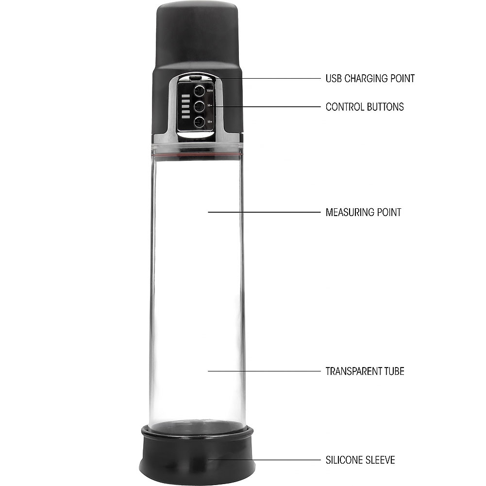 """Pumped Premium Rechargeable Automatic Pump 8"""" by 2.5"""" Clear - View #1"""