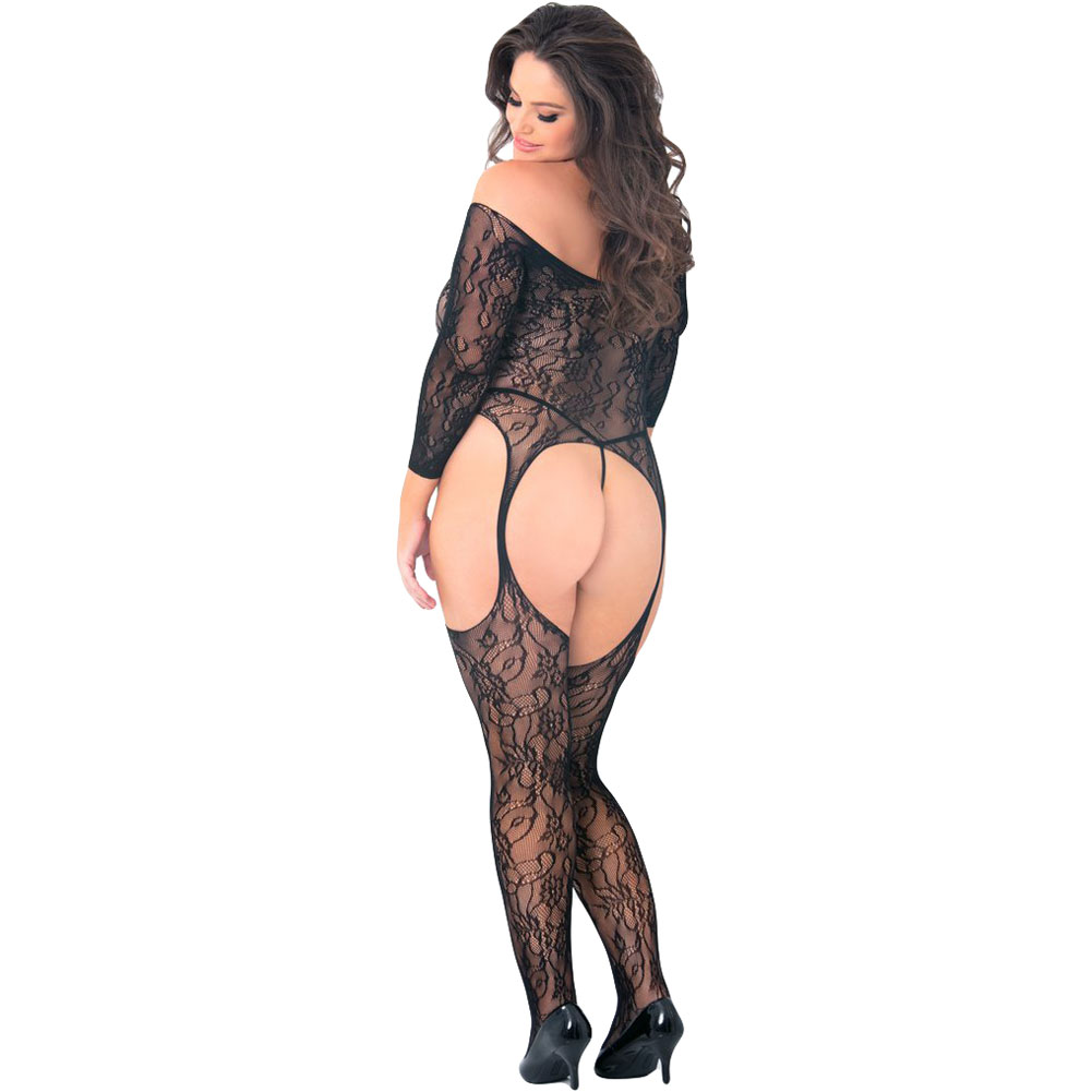 Rene Rofe Seductive Floral Lace Bodystocking Plus Size Black - View #1