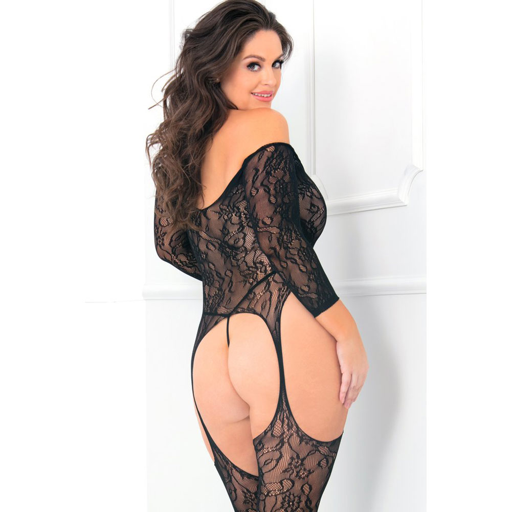 Rene Rofe Seductive Floral Lace Bodystocking Plus Size Black - View #3