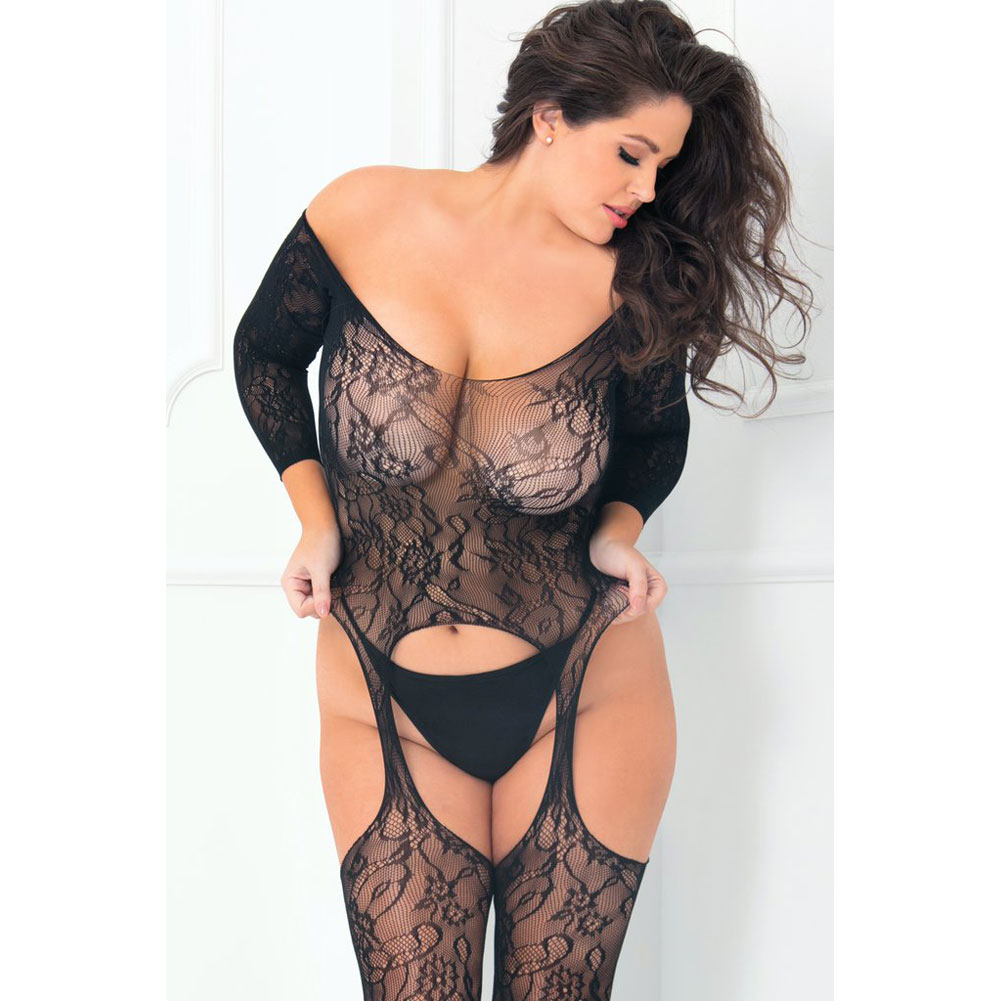 Rene Rofe Seductive Floral Lace Bodystocking Plus Size Black - View #4